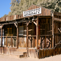 A picture of an Old West sheriff''s office
