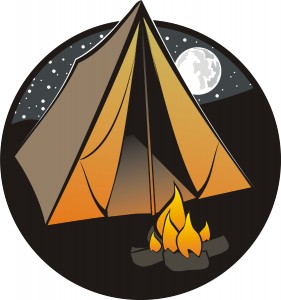 A night time cartoon of a tent and camp fire