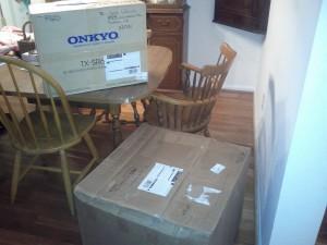 two large cardboard boxes awaiting unpacking