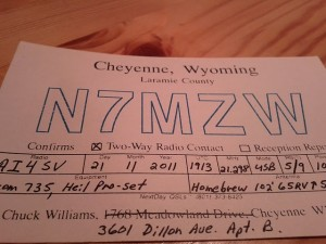 A qsl card to ai4sv from n7mzw confirming a sideband contact