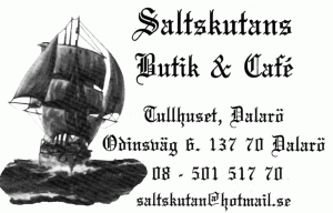 A scan of a business card from the restaurant Saltskutan