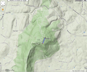 a topographic map showing APRS pings from Lambs Knoll