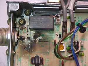 Lightning damage at the antenna port on the rear of the radio. The protecting diode has been more or less vaporized.