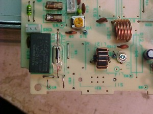 Repaired RF board, with intact protective diode, and replacement relay.