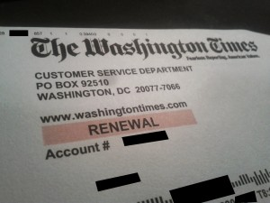 so-called renewal notice from the Washington Times newspaper - redacted for personal identifying information