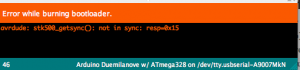 Error while burning bootloader. avrdude: stk500_getsynch():not in sync: resp=0x15