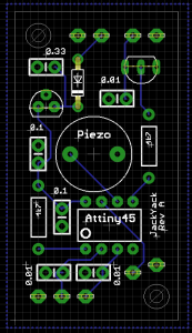 The Version A circuit laid out in Eagle CAD. Top of board view.