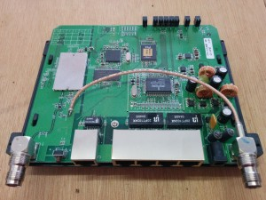 A look inside the Linksys WRT54GS router used in this project.