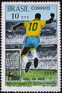 A Brazilian postage stamp commemorating football's Pelé