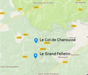Map of Col de Charousse and Le Felletin