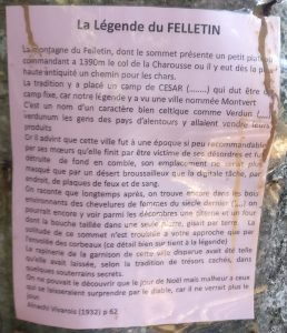 Pink plastic-covered paper describing the legend of the Grand Felletin