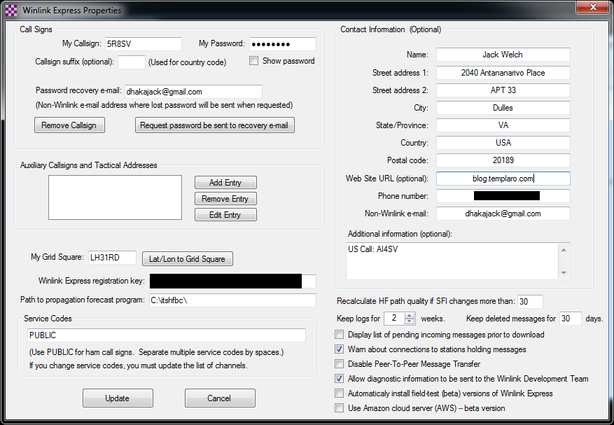 setup screen for winlink users need to type in their registration key in the appropriate box blacked out