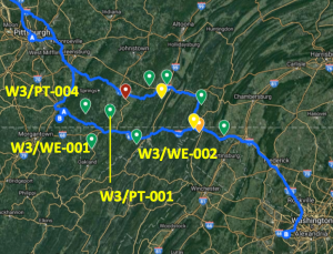 An aerial view of the route back to Washington DC from Indiana, with sites identified by markers.