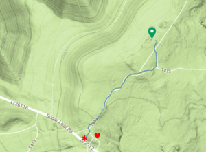 Terrain map of the area near the summit showing the route taken