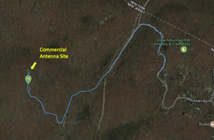 Google map with highlighted path to the summit