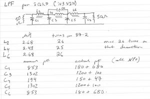 handwritten capacitor and inductor values for the LPF filter