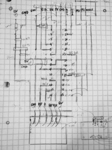pencil drawing of traces and wires for atmega328 chip and connections to controls and the ad9850 module