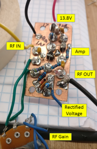 Amplifier and RF rectification circuit built Manhattan style on a copperclad sub-board.