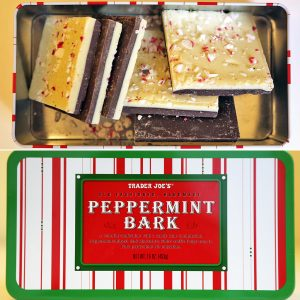 A metal tin of yummy peppermint bark