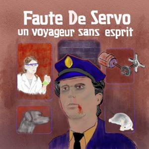 "The cover is meant to be evocative of a similar design used in the landmark Infocom title, A mind forever voyaging. The subtitle of Faute De Servo is ""Un voyageur sans esprit"", that is, ""A voyager without a mind""."