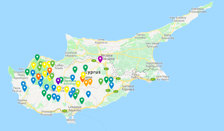 Map of Cyprus with color-coded pins in each summit