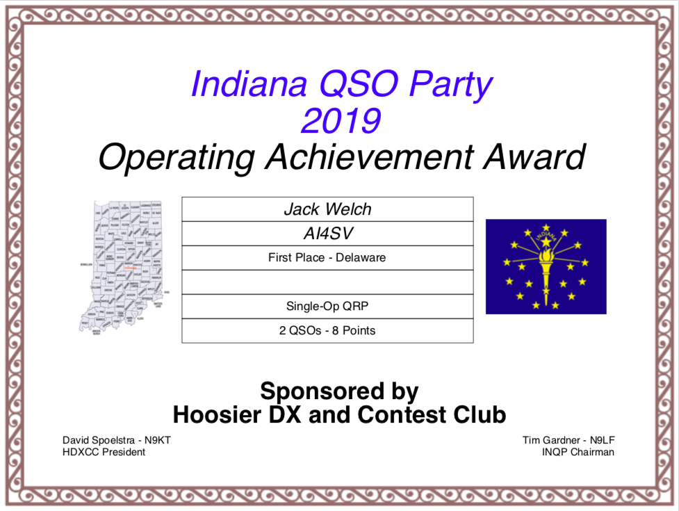 """Indiana QSO Party Certificate for AI4SV """"First Place - Delaware"""". Single Op QRP: 2 QSOs, 8 points."""